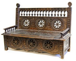 French Miniature Oak Settle
