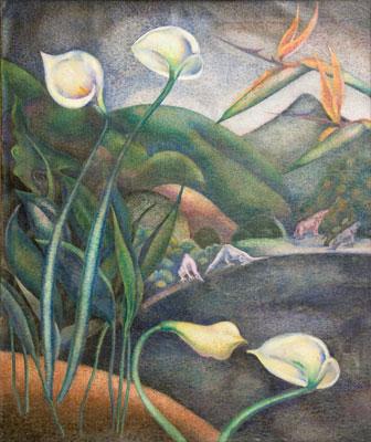 George Biddle - Dinosaurs in Landscape