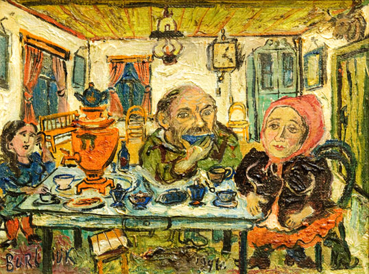David Burliuk - Figures at the Table