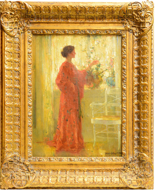 Walter Granville-Smith - Woman in Red Kimono