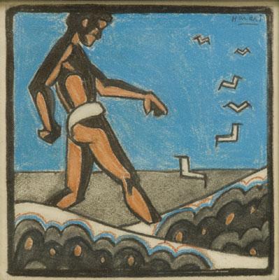Hananiah Harari - Man on Beach