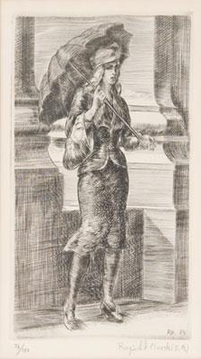 Reginald Marsh - Woman with Umbrella