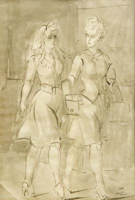 Reginald Marsh - Two Women Walking