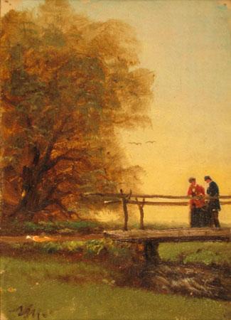 N.A. Moore - Couple on Bridge