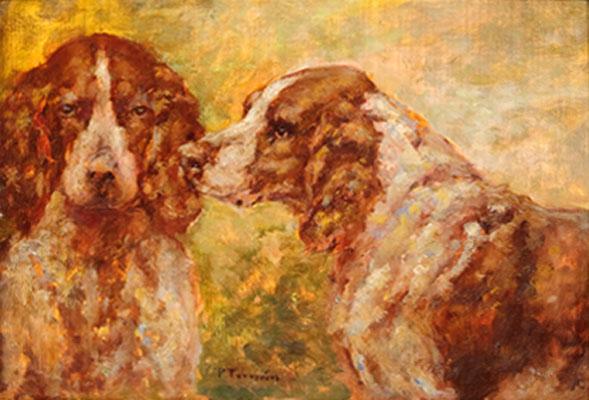 Paul Tavernier - Study of Two Spaniels