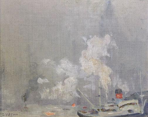 Charles Vezin - Mist New York Harbor